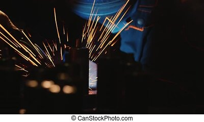 Electric welder at work Lots of hot sparks