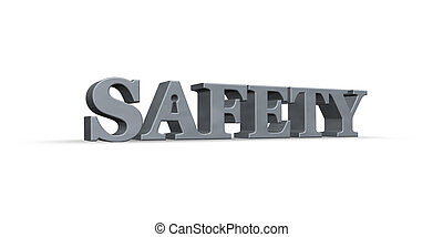 safety - the word safety with a keyhole - 3d illustration