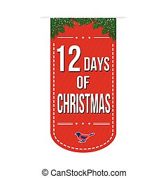 12 Days of Christmas banner design over a white background,...