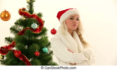 Beautiful Young Woman Posing For Camera On Christmas - In...