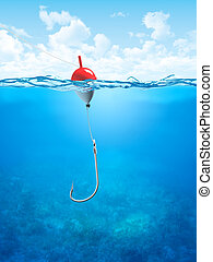 Float, fishing line and hook underwater - 3d illustrations...