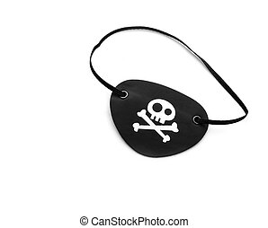 Pirate eyepatch on white - Closeup of pirate eyepatch...