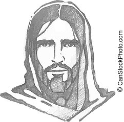 Jesus Christ Face - Hand drawn vector illustration or...