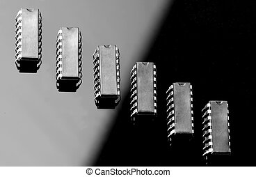 Concept of chips on black and light backgrounds