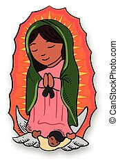 Virgin Mary of Guadalupe - Vector illustration or drawing of...