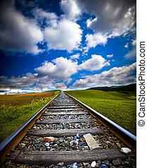 trem, movimento, Borrão