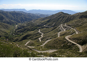 Hairpin bends in the Andes Mountains near Mendoza, Argentina