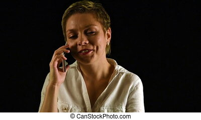 Short hair business woman talks by mobile phone - Short hair...