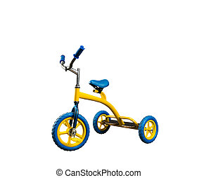 Yellow, kid's, bicycle, isolated