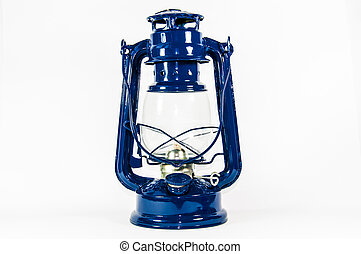 Oil Lamp - An old blue oil lamp isolated on white