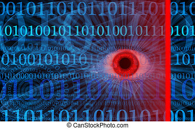 Abstract internet security illustration with human eye,...