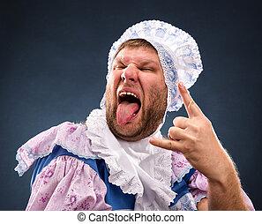 Strange man sticking out tongue - Strange man weared as baby...