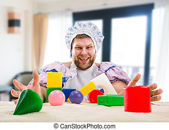 Man weared as baby playing