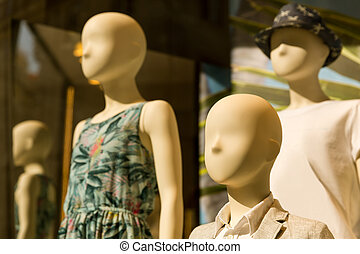 Mannequins in the storefront