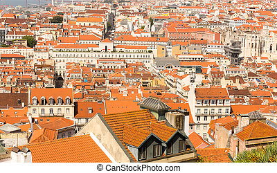 European city roofs - View of the european city roofs,...