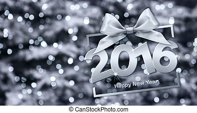 happy new year 2016 silver text with box and ribbon in...