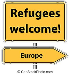 Illustration Vector Graphic Road Sign Refugees Europe for...