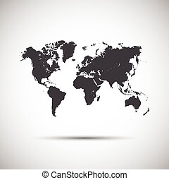 Simple vector icon map of the world