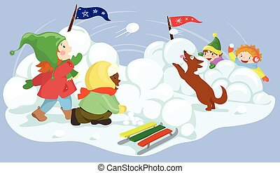 snowball fight vector illustration - Winter fun. Children...