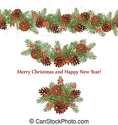 Set festive garlands of pine cones and bows decorated with...
