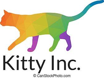 Elegant Multicolored Cat Logo Template