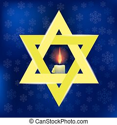 Yellow Star of David and Burning Candles Isolated on Blue...