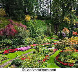 Flower beds of bright flowers - Butchart Gardens - amazingly...