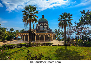 Church Mount of Beatitudes - The dome of basilica is...
