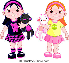 Cute little girls wearing different stile clothing