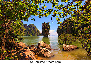 Freakish island - Freakish islands in the Andaman Sea. James...