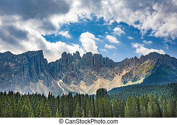 Lake with mountain forest landscape, Lago di Carezza, Tirol