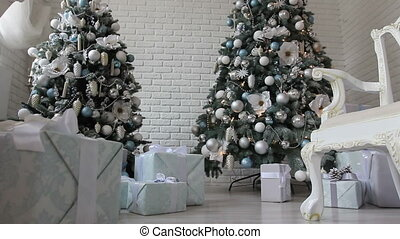 new year gift under white Christmas trees -2 - gifts under...