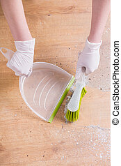 White plastic dustpan isolated - Close up of white plastic...