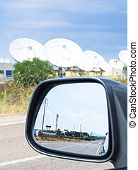 teleport satellite communications with rearview mirror Group...