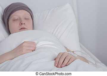Girl with cancer during therapy