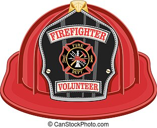 Firefighter Volunteer Red Helmet is an illustration of a red...