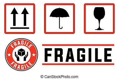 fragile signs and stamps