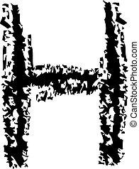 Letter H grunge.