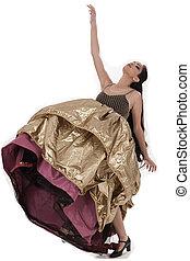 Attractive girl dancing belly dance