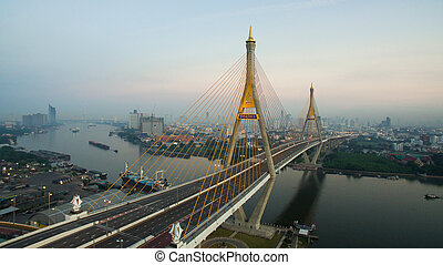 aerial view of bhumibol 2 bridge important modern landmark...