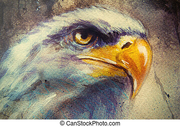 painting of eagle on an abstract background, color with spot structures.