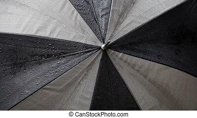 Tight Shot Of Umbrella With Rain Dr - Close Shot Of Umbrella...