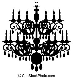 Vector chandelier silhouette isolated on the white...