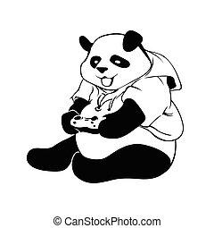 Panda playing video game