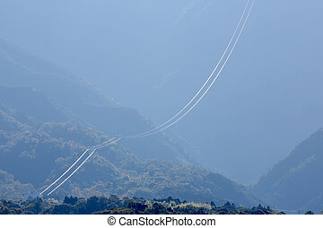 cable car wire - view of reflected cable car wire with...