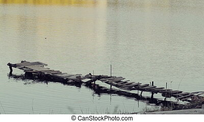 Dock, Wooden Fishing Bridge - Wooden dangerous fishing...