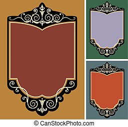 Set of vector vintage frames - Frames collection with space...