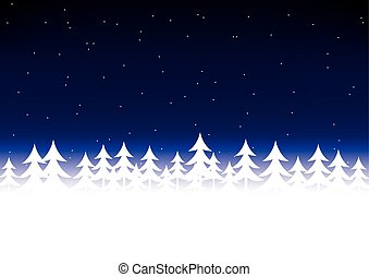 Christmas tree snow dark blue sky
