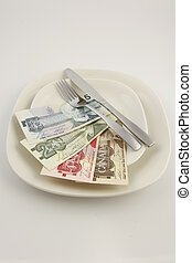 Canadian bills on a plate