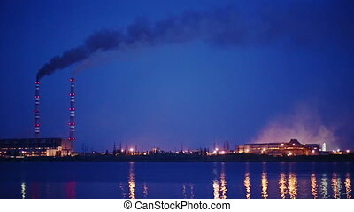 Ecology Pollution, Night View - Thermal power plant at night
